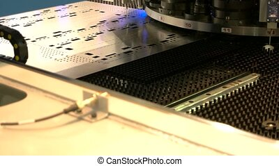 Cnc punching machine close up.