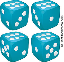 Set of blue casino craps, dices with six points, dots number on top, vector illustration