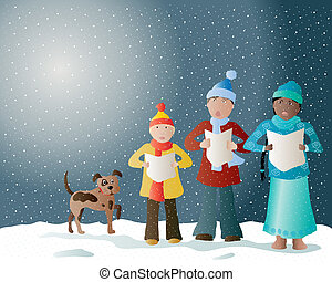 christmas carols - an illustration of carol singers in the...