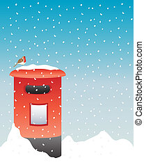 post box in the snow - an illustration of a bright red post...