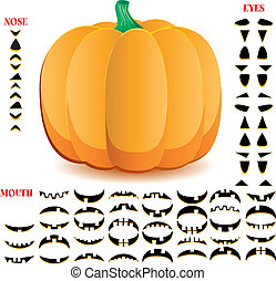 Halloween pumpkin with big set of mouths, eyes and noses for...