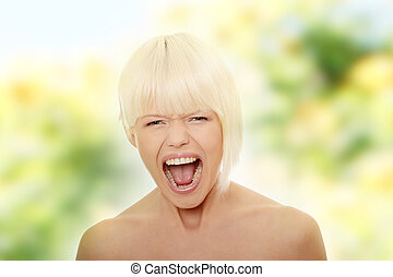 Gorgeous blonde female screaming