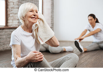 Positive delighted woman having break - Great results....