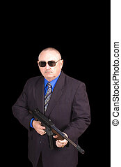 Government agent, FBI agent, with a thompson machine gun...