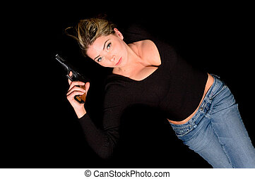 buxom woman with gun - buxom woman spy with handgun and...