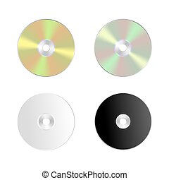 Cd, dvd isolated vector icon. Compact disc realistic set