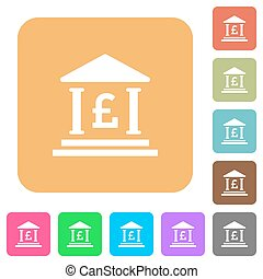 Pound bank office rounded square flat icons