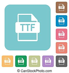 TTF file format rounded square flat icons - TTF file format...