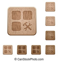 Component tools wooden buttons - Component tools on rounded...