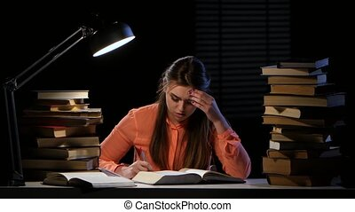 Girl thumbs through the book and it hurts headaches. Black...