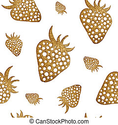 Gold strawberry seamless pattern. Berry hand painted...