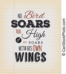 No Birds Soars Too High Inspirational Quote - Illustration...