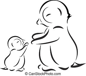 Vector image. Outline drawing of penguin family mom and baby