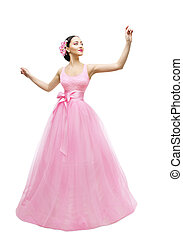 Fashion Model Ball Dress, Woman in Long Pink Gown, Young Asian Girl over White Background