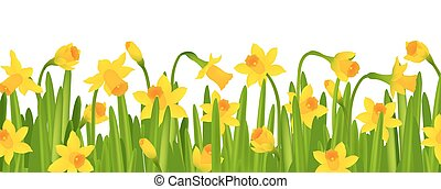 Narcissus Border With Gradient Mesh, Vector Illustration