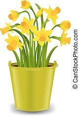 Narcissus In Pot With Gradient Mesh, Vector Illustration