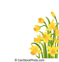 Spring Narcissus With Gradient Mesh, Vector Illustration