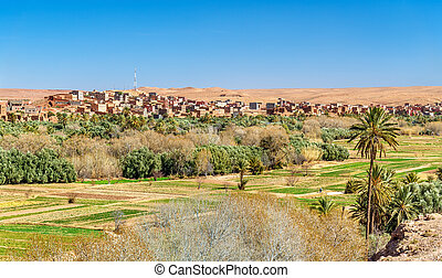 Panorama of Tinghir city in Morocco. Tinghir is an oasis on...