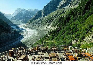 Glacier Mer de Glace in Mont Blanc massif, France