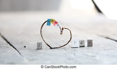 I love you phrase with heart. - I Love You idea, heart with...