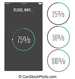 Phone screen with loading percentage marks. Icons progress bar.