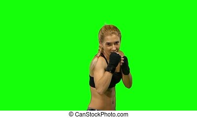 Boxer standing in the front and sends butted an opponent...