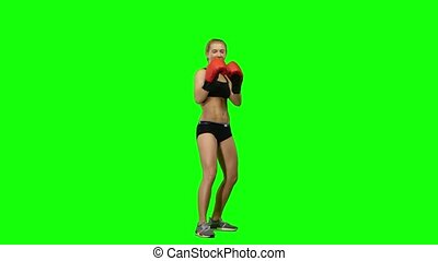 Boxer standing in the front and make swings and kicks. Green screen