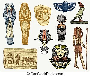 egyptian symbols, pharaon, scorob, hieroglyphics and osiris...