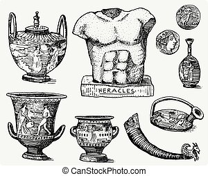 ancient Greece, antique symbols, greek coins, heracles sculpture, anphora vintage, engraved hand drawn in sketch or wood cut style, old looking retro, isolated vector realistic illustration.