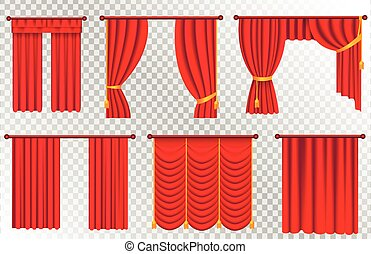 Red Curtains Set. Theater Curtain Illustration - Red...