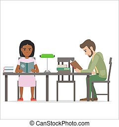 Female and Male People Sitting at Table Read Books - Female...