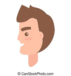 Male Character Face from Sideview Illustration -...