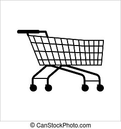 Supermarket Shopping Empty Cart Isolated on White -...
