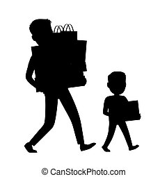 Father and Son Silhouettes Carrying Purchases