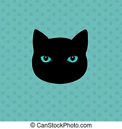 Black Cat With Gradient Mesh, Vector Illustration