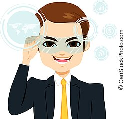 Virtual Reality Businessman - Young attractive businessman...