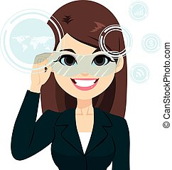 Virtual Reality Businesswoman - Young beautiful...