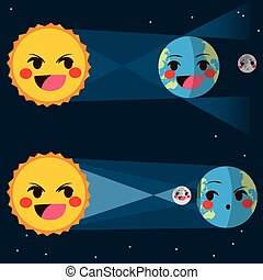 Lunar And Solar Eclipse - Infographic flat color style...
