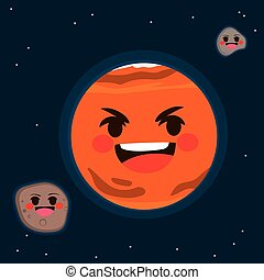 Mars Planet - Flat color illustration of Mars planet with...