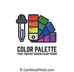 Color swatch palette - Color picker and palette thin line...