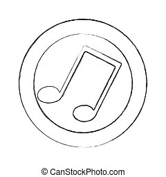 blurred silhouette circular frame with musical note vector...