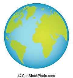 colorful earth world map with continents in 3d