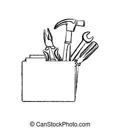 monochrome contour with folder and hand tools vector...