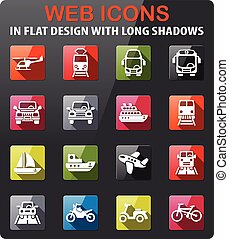 transport icon set - transport icons set in flat design with...