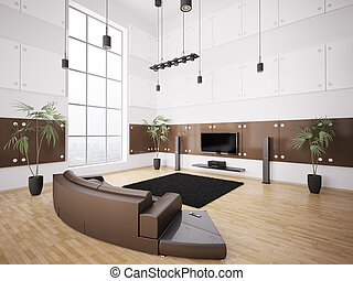 Modern living room interior 3d - Living room with brown sofa...