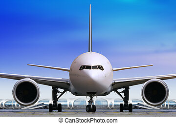 passenger airplane at modern airport - passenger airplane is...