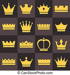 Vector crowns icons set, flat design