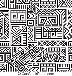 Aztec Vector Seamless Pattern - Unique Geometric Vector...