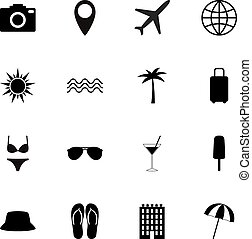 Set of black travel icons, vector illustration