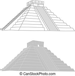 Chichen itza, mexican mayan pyramid on white background,...